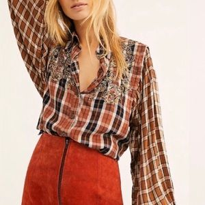 NWT $168 Free People Snow Top Mountains Plaid Top